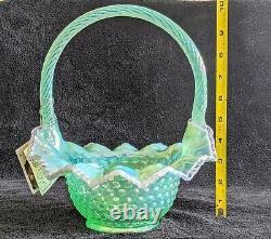 10.5 Fenton Green Opalescent Carnival Hobnail Pink Crest Basket