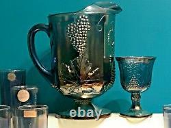 13 Indiana Carnival Glass Blue Iridescent Harvest Grapes Pitcher Goblet Glasses