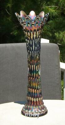 15.5 Iridescent Carnival Glass Vibrant Tree Trunk Funeral Vase MINT