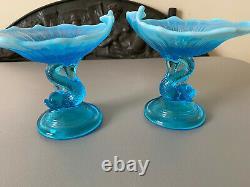 2 Antique NorthWood Aqua Blue Opalescent Glass Dolphin Candy Dish c
