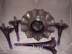 2003 Fenton Purple Lavender Lilac Stretch Iridescent Glass LARGE Epergne 5 Pcs