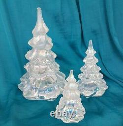 3 Vintage FENTON Art Glass 643 Iridescent Light Blue Christmas Tree 1985-96