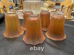 5 Antique vintage NUART Marigold Iridescent Carnival GLASS SHADE Globes 5 3/8