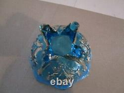 6 NORTHWOOD Blue Opalescent Slag Inverted Fan & Feather Berry Bowls