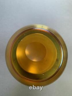 8.5 Czech Bohemian Poschinger Glass Gold Carnival Iridescent Stretch Vase 1900s