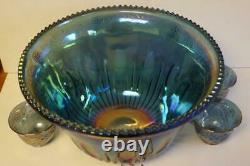 A Lovely Vintage Indiana Glass Iridescent Blue Punch Bowl With 4 Cups & Hangers