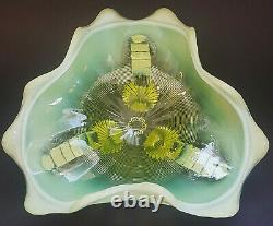 Antique EAPG Northwood Klondyke Canary Yellow Footed Opalescent Vaseline Bowl