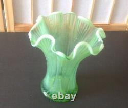 Antique EAPG Northwood Opalescent Green Glass 8.5 Vase. Mint