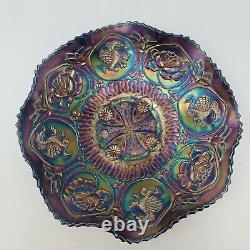 Antique Fenton Dragons & Lotus Carnival Glass Blue Iridescent Ruffled Bowl 9