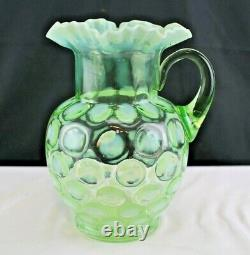 Antique Fenton Glass Green Opalescent Coin Spot/Dot Optic Water Pitcher