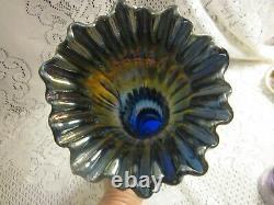 Antique Fenton Rustic Carnival Glass14 1/2 Midsize Blue Iridescent Vase