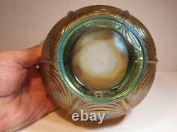 Antique Northwood Aqua Opalescent Carnival Glass Drapery Pattern Rosebowl Vase