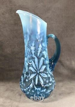Antique Northwood Blue Opalescent Poinsettia Tankard