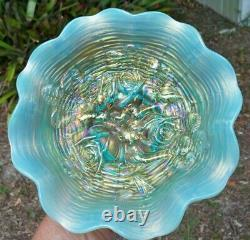 Antique Northwood Carnival Glass Aqua Opalescent Rose Show Ruffled Bowl