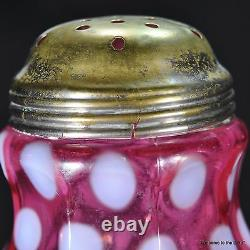 Antique Northwood Cranberry Opalescent Coin Spot Sugar Shaker/Muffineer