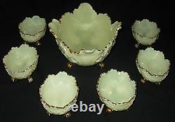 Antique Northwood Louis XV Pattern Opalescent Custard Berry 7-piece Set Ca1898