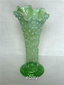 Antique Northwood Mold Blown Green Tree Trunk Vase Opalescent Ruffle Neck