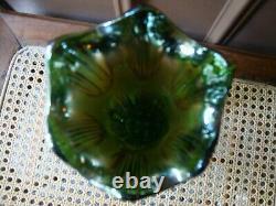 Antique Vtg Diamond Rib Fenton Carnival Glass Vase Rainbow Iridescent