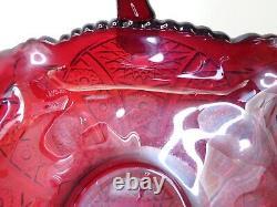 Antique large red carnival glass basket vintage iridescent