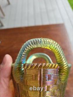 Aqua Opalescent Northwood Carnival Glass Bushel Basket Great Color