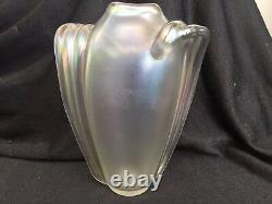 Art Glass Art Deco Nouveau Wave Sided Iridescent Vase 6 1/2 H