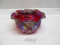 BEAUTIFUL Vintage LE Smith Carnival Ruby Red Blue Iridescent Bowl, Scalloped Rim