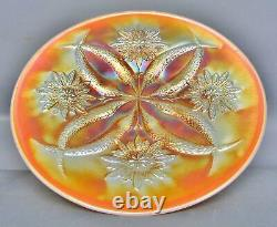 C082 Dugan FOUR FLOWERS Peach Opalescent Carnival Glass 6½ Smooth Edge Plate