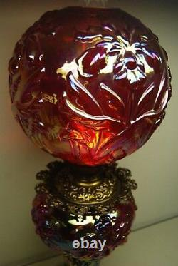 Carnival Glass Fenton Gwtw Iridescent Marygold Oil Kerosene Artnouveau Iris Lamp