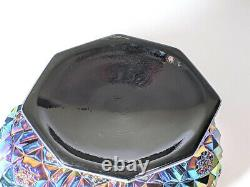 Carnival Glass Iridescent Lrg Pedastel Bowl Pretty Pattern Vibrant Blue/Purples