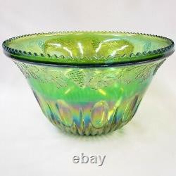 Carnival Punch Bowl Iridescent Set 12 Mugs Cups Princess Green Indiana Glass