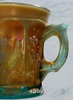 Carnival glass MUG, Singing Birds, Northwood, aqua opalescent, 3.5 t