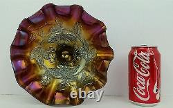 Dugan Cherries Dark Amethyst Iridescent 3 Footed Ruffled Carnival Glass Bowl