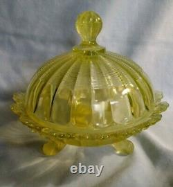 EAPG Northwood Klondyke Butter Dish in Canary Opalescent