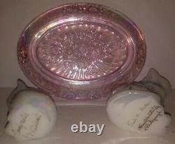 FENTON 3 Piece Set Glass Cats Iridescent White Hand Painted & Signed & Pink Tray