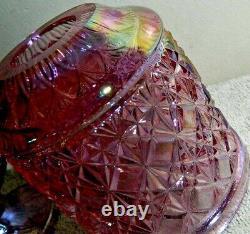 FENTON Art Glass Pink Iridescent Diamond Cut & Block Pattern Fairy Lamp Light 6