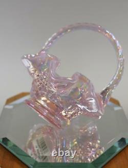FENTON BASKET MINI New Rose Opalescent Carnival 4585NI MIB FREEusaSHIP