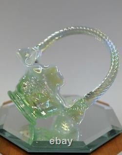 FENTON BASKET MINI Sea Green Opalescent Carnival 4585GY MIB FREEusaSHIP