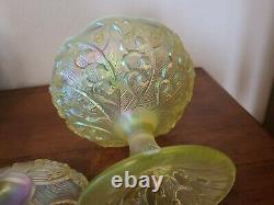 FENTON Carnival Vaseline Topaz Covered Candy Dish Opalescent Lily of the Valley