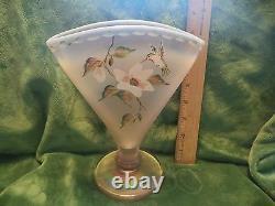 FENTON FAN VASE PINK CARNIVAL GLASS Handpainted Floral OPALESCENT BILL FENTON
