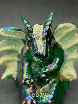 FENTON Green Iridescent Carnival Glass Winged Dragon Figurine By Nancy Fenton