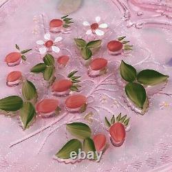 Fenton 8 Large Glass Pink Iridescent Carnival Glass Heart Trinket Box