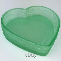 Fenton 8 Large Glass Pink Iridescent Carnival Glass Heart Trinket Box Painted