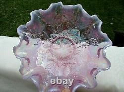 Fenton 90's Pink-Violet Opalescent Carnival Glass Berries-Leaf Bowl 8W x 4H