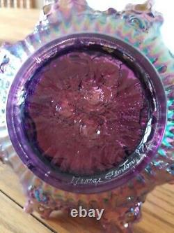Fenton Amethyst Iridescent Carnival Glass Ruffled Hummingbird Basket Signed