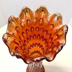 Fenton Antique Iridescent Marigold Carnival Glass Rustic 9 Flute Funeral Vase