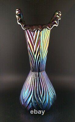 Fenton Black Amethyst Iridescent Carnival Electric Ribbed Crimped Glass Vase