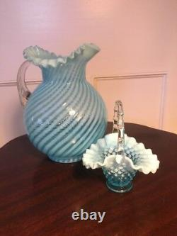 Fenton Blue Opalescent Swirl Spiral Optic Glass Water Pitcher and Hobnail Basket