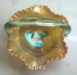 Fenton Carnival Glass Curtain/Drapery Basket Aqua Opalescent 074