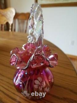 Fenton Cranberry Iridescent Carnival Glass Basket Ruffled Hand Painted Signed