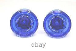 Fenton Eagle Candle Holders Cobalt Blue Iridescent Carnival Glass Candlesticks
